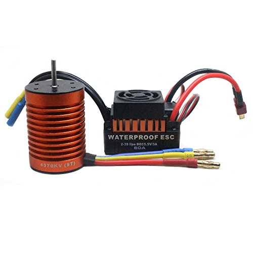 Sensorless Motor Speed Controllers (Brushless Motor, Oldeagle 9T 4370KV Brushless Motor + 60A ESC Speed Controller Combo ME720 for 1/10 RC Car)