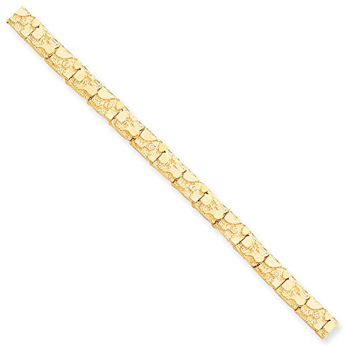 Lex & Lu 10k Yellow Gold 7.0mm Nugget Bracelet