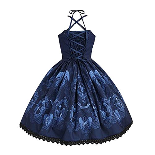 Women's Fashion Skull Print Punk Style Strap Button Dress Hepburn Lace Big Swing Party Dresses by JUSTnowok Blue