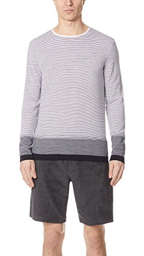 Theory Mens CYAR Crew Neck Striped Sweater, Off White/Multi, L (Theory Striped Sweater)