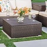 Outdoor Patio Table,Accent,Wicker, With Storage,Rectangle,Multibrown Finish