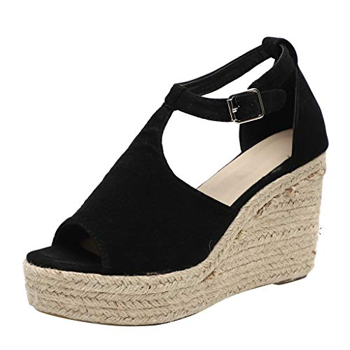 Caopixx Womens Flatform Espadrille Strappy Open Toe Flat Platform Ankle Sandals Buckle Flats Sandals