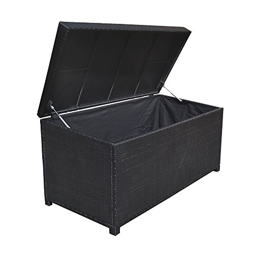Style 2 BLACK 64'' x 30'' x 30'' Large Wicker Storage Box Chest Deck Poolside Storing Patio Case