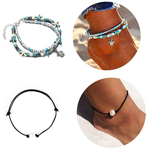 Dcfywl731 Black Leather Rope Women Anklets Shell Choker Necklace Imitation Pearl Cowrie Shell Anklets Bracelets Puka Shell Anklet Ocean Beach Summer Jewelry ((Turtle +Pearl) Necklace)