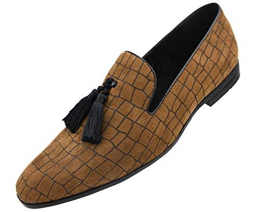 Amali Men's Exotic Velvet Loafer Slip On with Black Fabric Tassel Dress Shoe, Style Sobek - Black Fabric Tassel