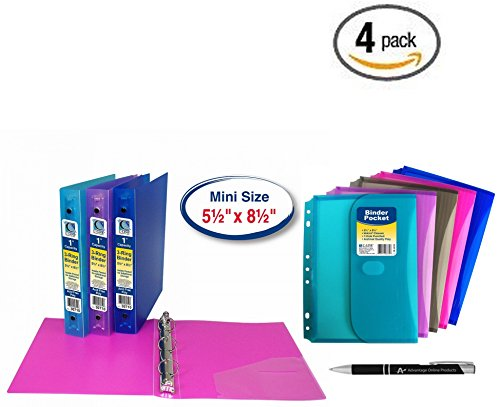 4 Pack C-Line 3-Ring Poly Binder, Mini Size 5.5 x 8.5, 1-Inch Capacity, 1 of each Color (30710) plus 4 Binder Pockets asst colors (08730) and Custom AdvantageOP Retractable Pen