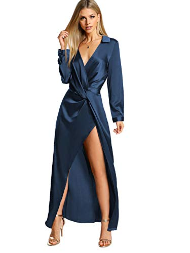 Verdusa Women's Satin Long Sleeve V Neck Collar Twist Wrap Maxi Dress Blue L