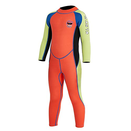 "Neoprene Kids Wetsuit for Boys Girls 2.5MM One Piece Full Body Long Sleeve Swimsuit, UV Protection Keep Warm for Scuba Diving Snorkeling Swimming Fishing Surfing (Boys Orange, S (Height 37""-41""))"