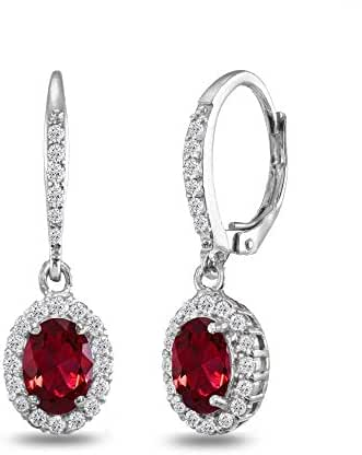 Sterling Silver Genuine, Created and Simulated Gemstone Birthstone Oval Dangle Halo Leverback Earrings with White Topaz Accents