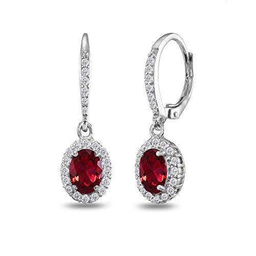 Sterling Silver Created Ruby Oval Dangle Halo Leverback Earrings with White Topaz (Red Star Ruby)