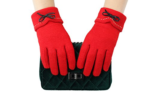 Activity Glove - PotomacRose Women Wool Gloves Touchscreen Winter Cold Weather Thick Warm Soft Comfortable Fashion Elegant Touch Screen Texting Driving Riding Running Jogging Skating Outdoor Activities Gloves(Red)