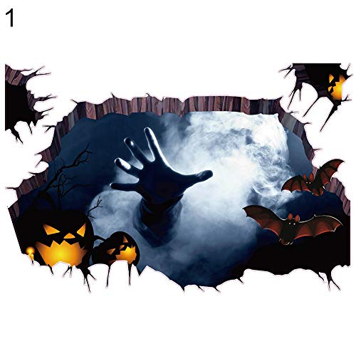 yanbirdfx Spider Scary Halloween Zombie 3D Bat Spider Scary Break Through The Wall Sticker Poster Decal 1#