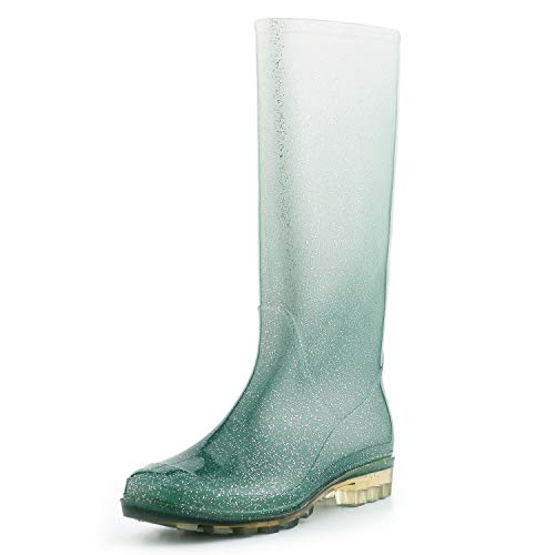 Best Knee High Boots - KomForme Women' s Knee High Waterproof Rain Boots Glitter, Matte and Gradient