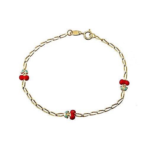 Bracelet 18k or émaillé cerises [AA6700]