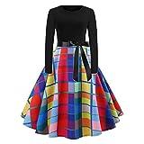 BingYELH Ladies Plaid Print Dress, Women's Vintage 1950s Retro Rockabilly Swing Dress