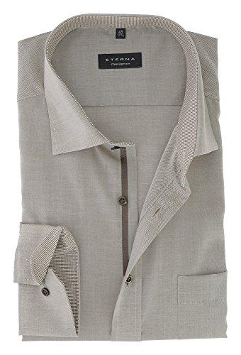 ETERNA Herren Langarm Hemd aus 100% Baumwolle Comfort Fit locker geschnitten extra lange Ärmel Gr.45 Beige Meliert