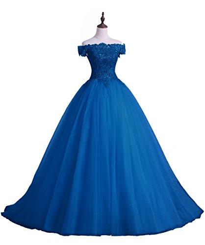 Au Large Des Robes De Soirée Épaule Robe Longue En Applique Bal Ainidress Bleu
