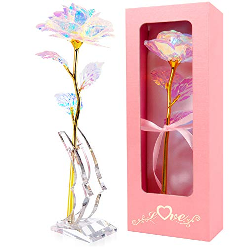 24K Gold Foil Colorful Rose Flower Galaxy Rose with Stand Luxury Gift Box Unique for Her Best Gift for Mother Day Christmas Wedding Anniversary Birthday…