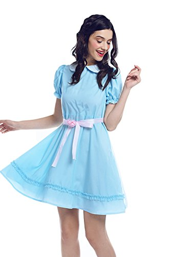 Nuoqi Women's Sweet Lolita Dress Blue Cotton Bow Puff Skirts Halloween Costumes (Medium, -