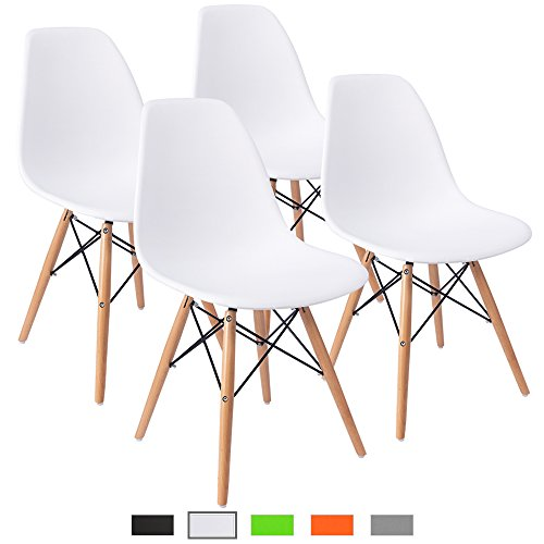 Parsons Chair Wood Finish Chair - Furmax Pre Assembled Modern Style Dining Chair Mid Century White Modern DSW Chair, Shell Lounge Plastic Chair for Kitchen, Dining, Bedroom, Living Room Side Chairs(Set of 4)