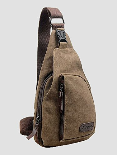 CuteMe Men's Small Canvas Military Messenger Shoulder Hiking Bag Backpack (BROWN)