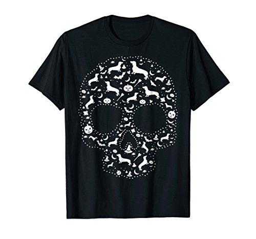 Mens Pooch Sugar Skull T-shirt cute Dachshund Dog Large Black -