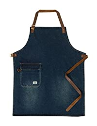 USKEES CHORLTON Denim Bib Apron - Vintage wash waiter barista leather straps