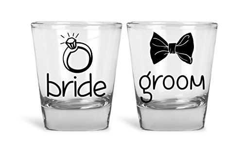Novelty Shot Glass - Bride & Groom Funny Novelty Couples Shot Glasses | Great for Bride, Groom, Bachelor and Bachelorette Party by Mad Ink Fashions