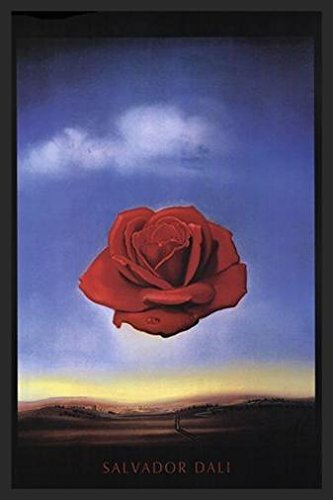 (Buyartforless IF HG AP792 1.25 Black Plexi Framed Meditative C 1958 by Salvador Dali 36X24 Art Print Poster Wall Decor Museum Masterpiece Red Rose Blue Sky Famous Painting)