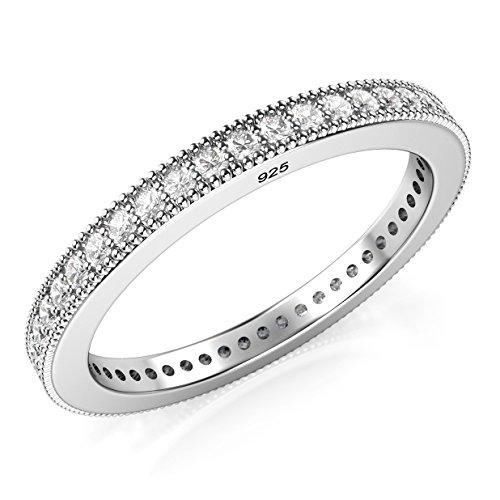 (Sz 8 Sterling Silver 2MM 925 CZ Cubic Zirconia Eternity Wedding Band Ring)