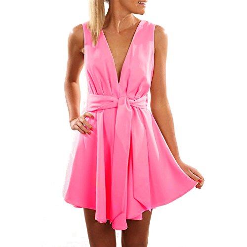 Damen Ärmellos Abendkleider Tief V-Ausschnitt Sommerkleid Rückenfrei  Partykleid Mädchen Kleider Frauen Kleid Minikleid Solide cbd569d83c