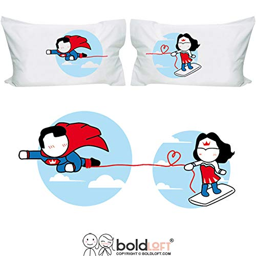 BoldLoft Made for Loving You Couples Pillowcases-Superman Gifts for Men, for Boyfriend, Husband Gifts, Couple Gifts, His and Hers Gifts, Superhero Gifts for Men, Wonder Woman Gift