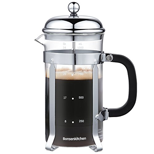 Bonsenkitchen French Press Glass Cafetiere Coffee Tea Maker(34 oz, 1 Liter)with Removable Stainless Steel Filter Heat Resistant Handle (CP8871)
