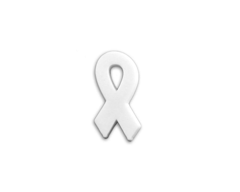 50 Pack White Ribbon Awareness Silicone Pins (Wholesale Pack - 50 Pins) by Fundraising For A Cause