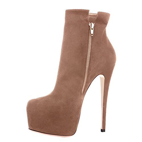 onlymaker Women's Handcrafted Rounded Toe Side Zipper Slim Fashion Ankle Boots Nude free shipping explore BUobEE