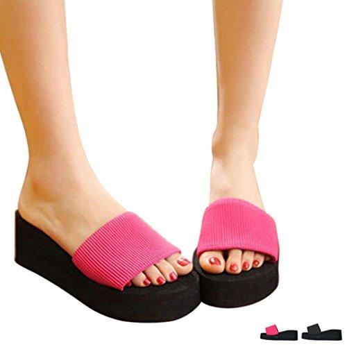 Mujer Chanclas, Malloom Verano Mujeres Zapatos de plataforma Sandalias Zapatillas Rojo