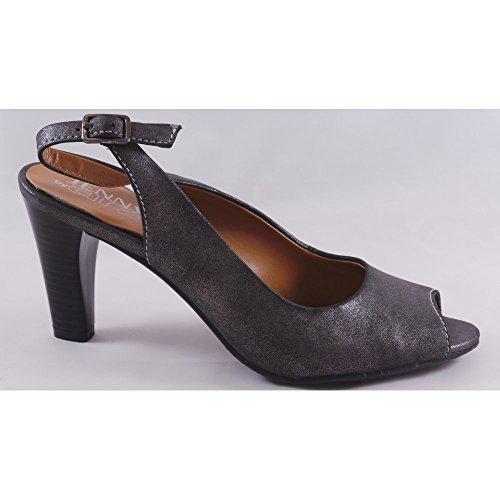 Jenny Salerno 22-52102 Glänzende Peep Toe grau, Slingback-Back Court Schuhe
