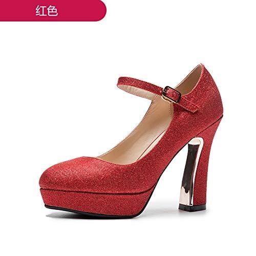 MLGSDW Weibliche Braut Schuhe Schnallen High Heels Heels Heels Wasserdichte Rough10 Cmthirty-SevenROT (11 cm) - 0c9286