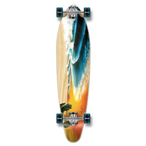 Yocaher Beach Series Complete Kicktail Skateboards Longboard Cruiser Black Widow Premium 80A Grip Tape Aluminum Truck ABEC7 Bearing 70mm Skateboard Wheels (Complete - Kicktail - 01 - Beach)