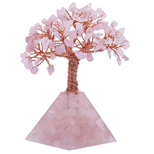 (mookaitedecor Rose Quartz Crystal Tree, Rose Quartz Pyramid Base Bonsai Money Tree for Wealth and Luck)