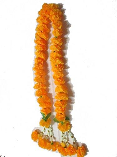 Marigold Flower - Big Size Artificial Yellow Marigold Garland /Size: 1m , By Jakapan.