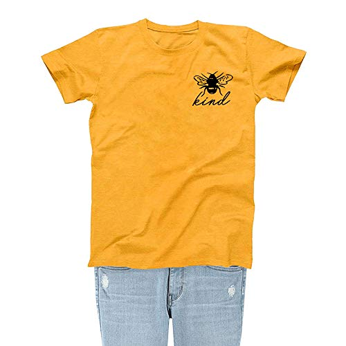 Rocksir Women Bee Kind Save The Bees Theme Fashion Personality Lovely Gold Yellow T-Shirt Girl Top TEES(M kind3)