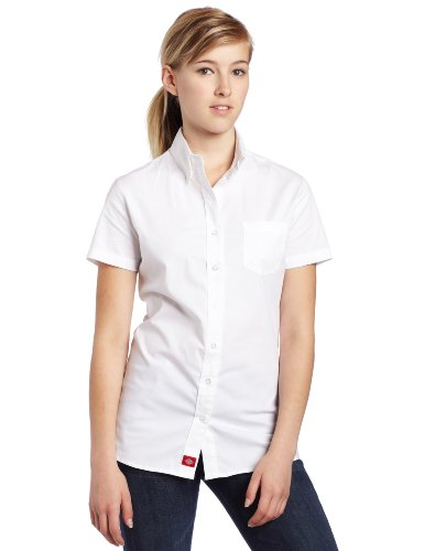 Dickies Girl Juniors Short Sleeve Button Front Poplin Shirt,White,Xlarge