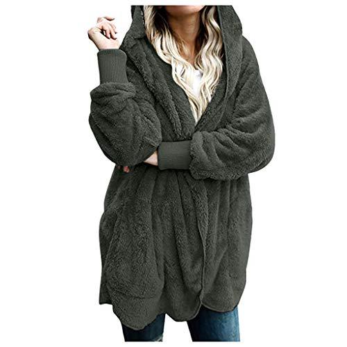 Winter Women Hooded Long Warm Soft Coat Jacket Hoodies Parka Outwear Comfy Cardigan Coat Green (Patagonia Womens Better Sweater Full Zip Hoody)