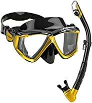 Cressi Panoramic Wide View Mask & Dry Snorkel Kit for Snorkeling, Scuba Diving   Pano 4 & Supernova Dr