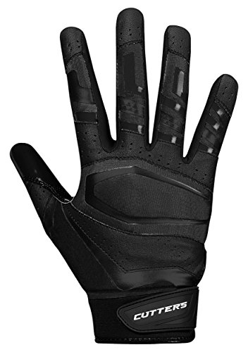 Cutters Receiver Football Gloves - Rev Pro Football Gloves - Made with Grip Boost and Stitching - Youth & Adult Sizes - Solid Black - Variety of Vibrant Colors 1 Pair ()
