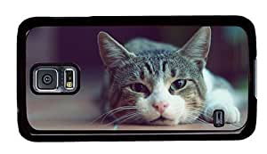 Hipster Samsung Galaxy S5 Case silicone covers cute lazy cat PC Black for Samsung S5