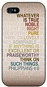 iPhone 4 / 4s Bible Verse - Whatever is true, noble, right, pure, lovely. Philippians 4:8 - black plastic case / Verses, Inspirational and Motivational