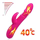 Personal Rabbit Vibrator- Waterproof Rechargeable Dildo Vibrator - 7 Speeds Dual Powerful Motor - Medical Silicone - Pink