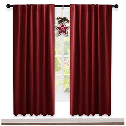 NICETOWN Blackout Curtain Panels for Girls (Burgundy Red Color) 52W x 72L, 2 Panels, Noise Reducing Back Tab Blackout Draperies on Thanksgiving Day Decor